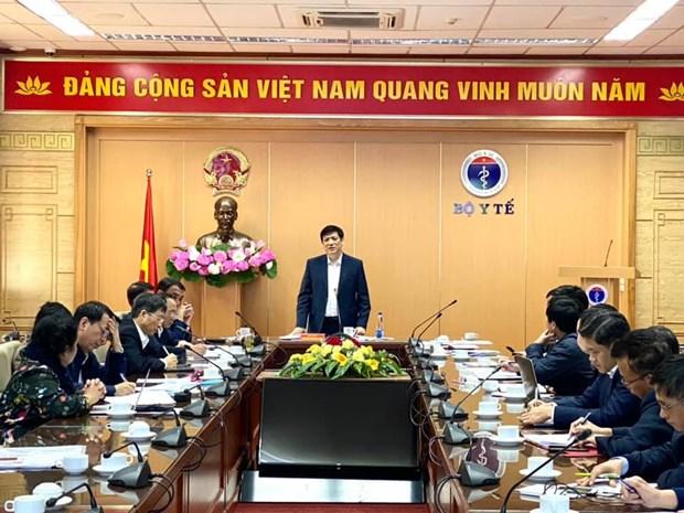 Bộ trưởng Nguyễn Thanh Long chủ trì cuộc họp báo cáo tình hình nghiên cứu sản xuất vắcxin COVID-19 trong nước. (Ảnh: PV/Vietnam+)